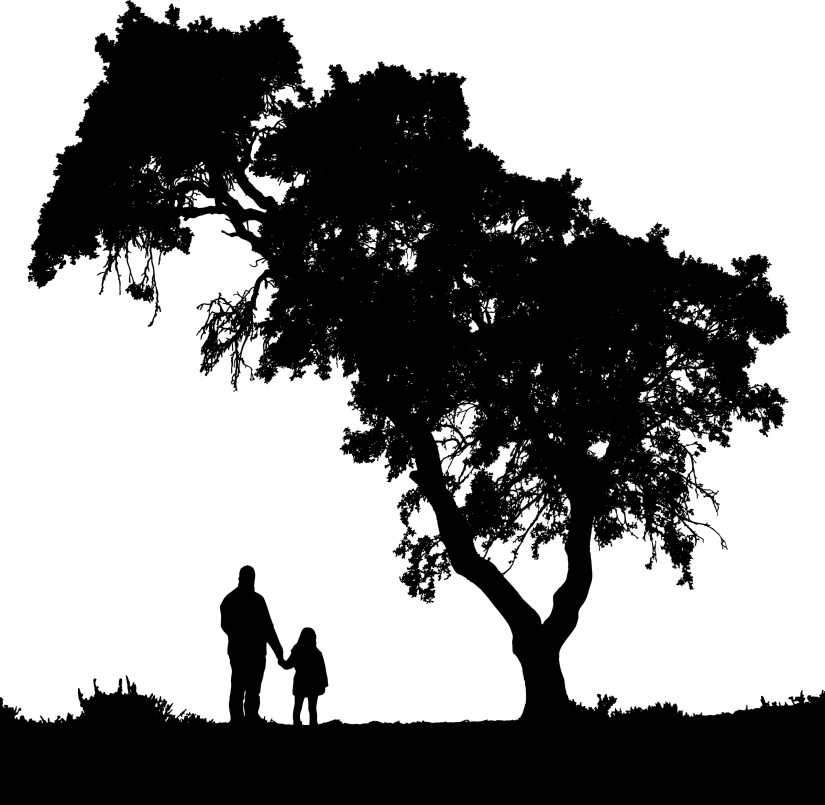 Father-And-Daughter-Landscape-Silhouette